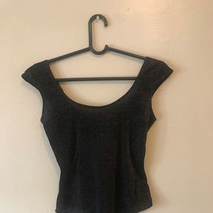 Bebe cut out back bodysuit black and gold glittery